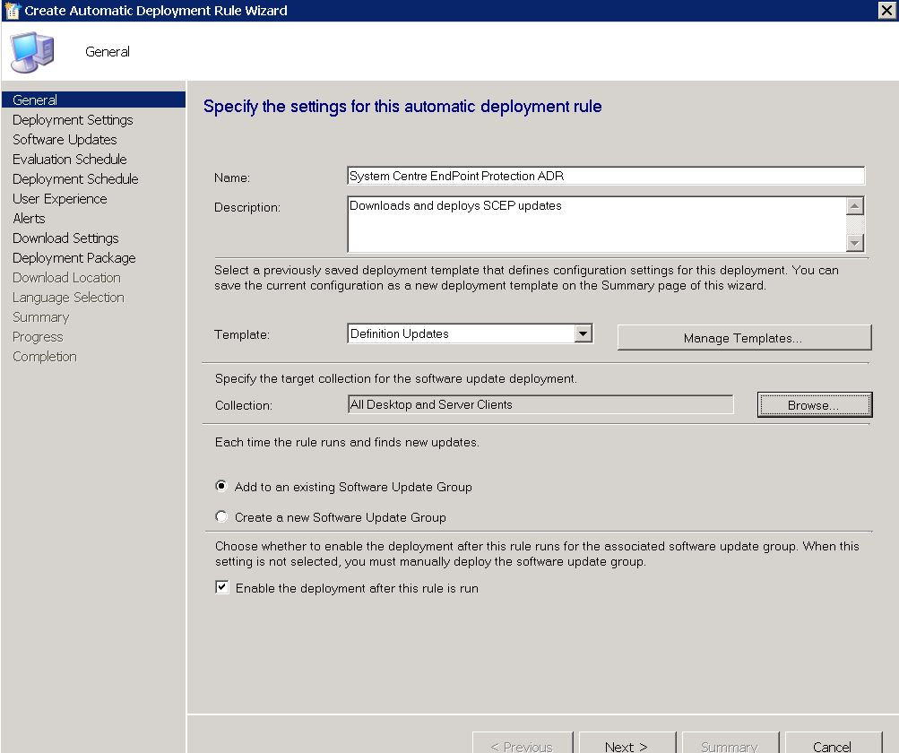 Updates: Create A SCCM Automatic Deployment Rule For SCEP Definitions