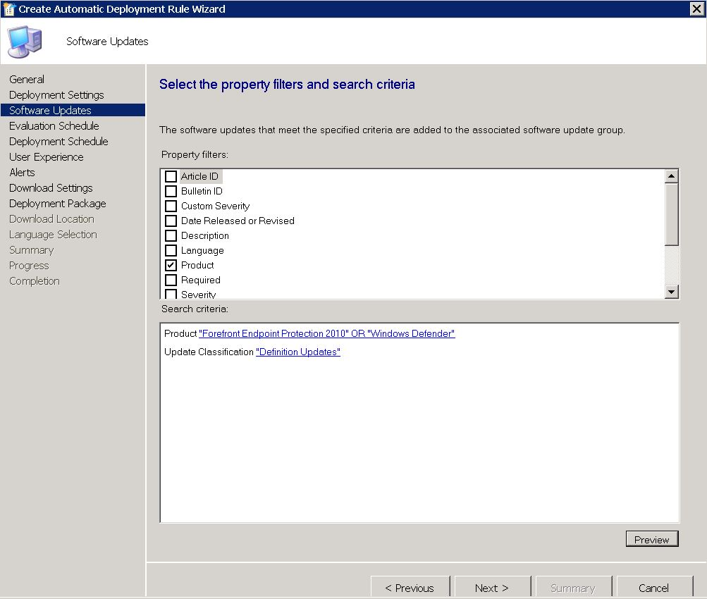 Create a SCCM Automatic Deployment Rule for SCEP definitions