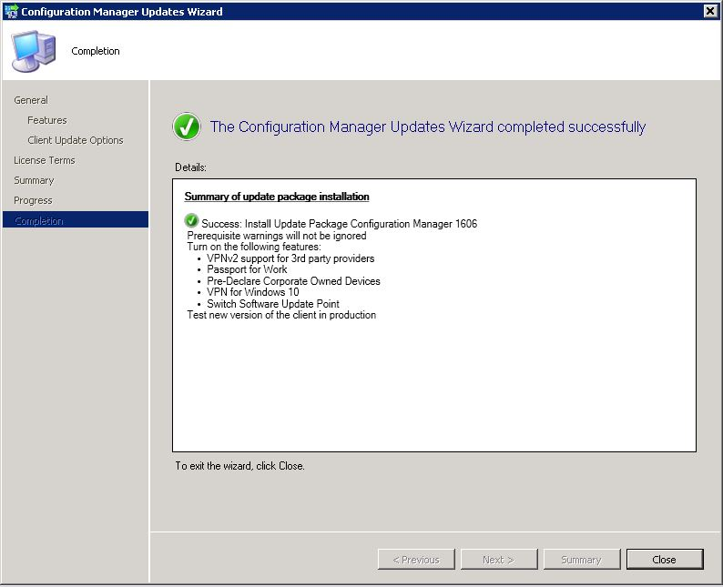 How to upgrade to SCCM 1606