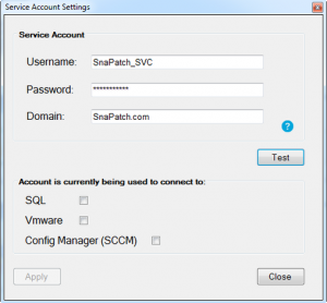 SnaPatch Patch Management Software Service Account Window