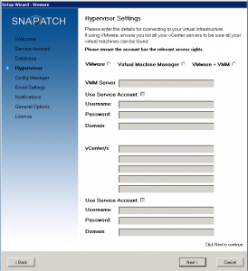 SnaPatch Hypervisor Configuration