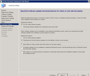 SCCM ADR Download Settings