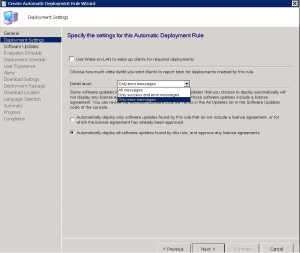 SCCM ADR Deployment Settings