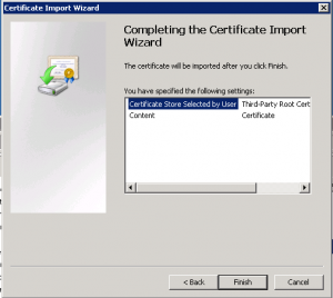 Certificate Wizard Finish