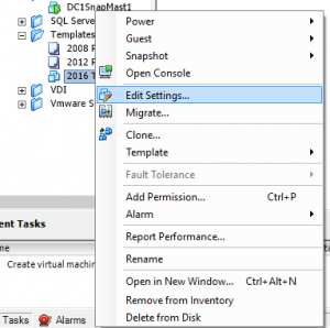VMWare Template Creation Edit Settings