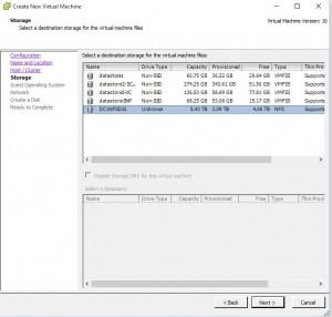 VMWare Template Creation Storage