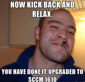 sccm 1610 finally upgraded