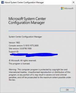 SCCM 1902 Upgrade Info