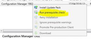 SCCM Upgrade Run Prerequisite Check