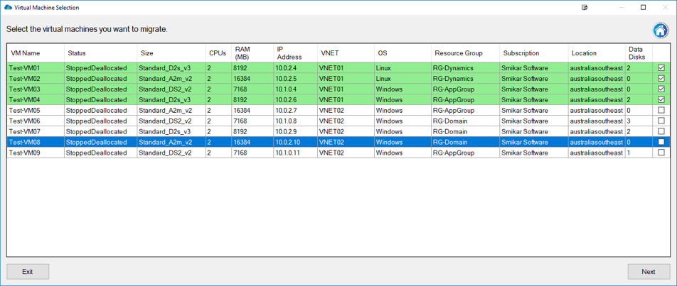 Carbon Azure VM Selection Screen