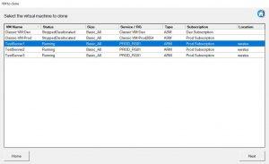 Clone Azure VM selection