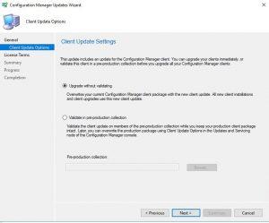SCCM KB4500571 Client Update Settings