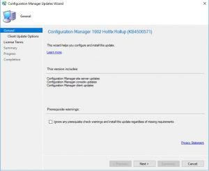 SCCM KB4500571 Updates Wizard