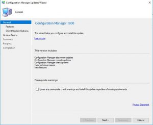SCCM 1906 Configuration Manager Updates Wizard