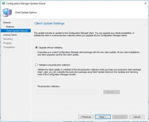 SCCM 1906 Configuration Manager Updates Wizard Client Updates