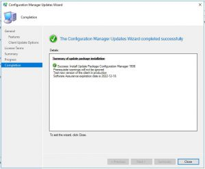 SCCM 1906 Configuration Manager Updates Wizard Completed