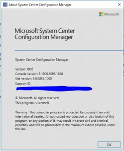 SCCM 1906 install success