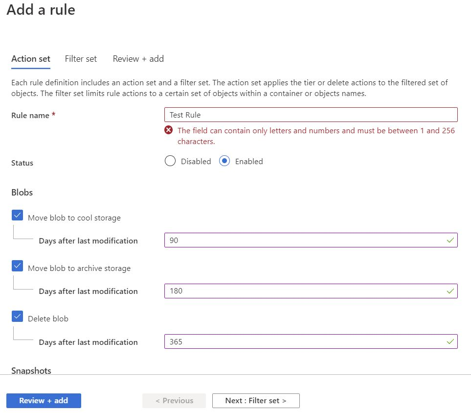 Azure Lifecycle Management New Rule