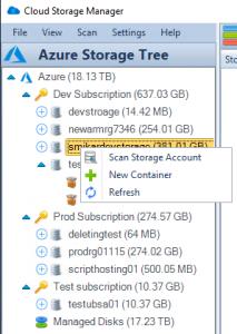 Cloud Storage Manager Azure Storage Tree