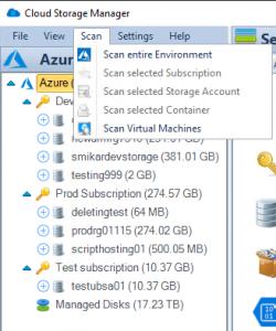 Cloud Storage Manager Scan Menu