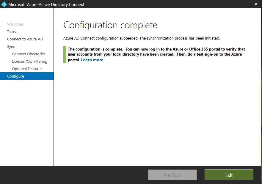 Azure AD Configuration Complete