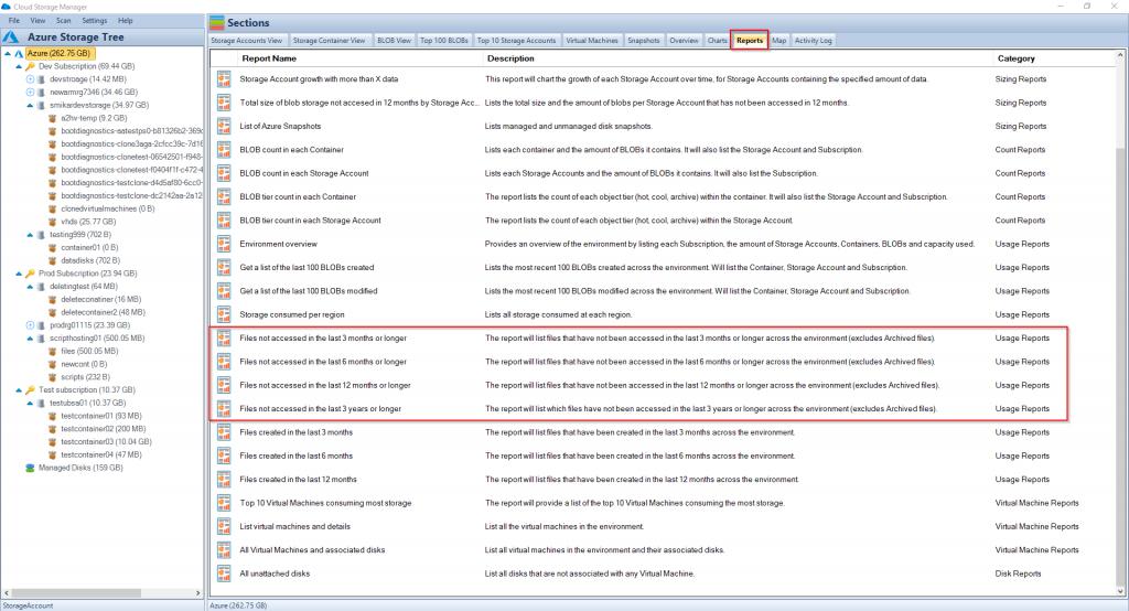 Azure Blob Last Accessed Reports