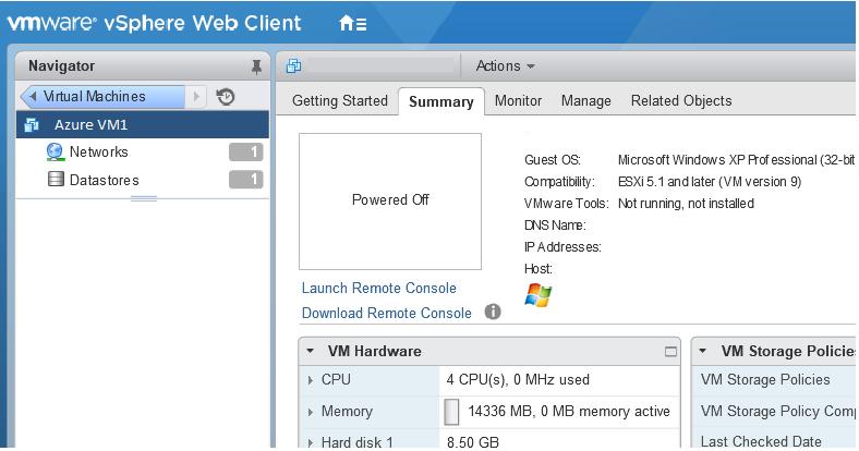 Azure VM on VMware