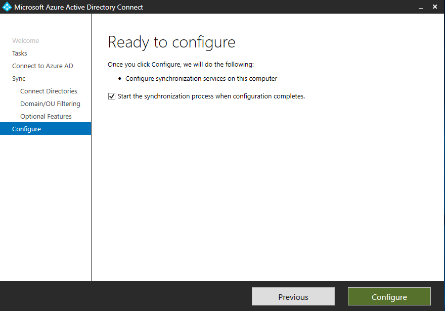 Ready to configure Azure AD