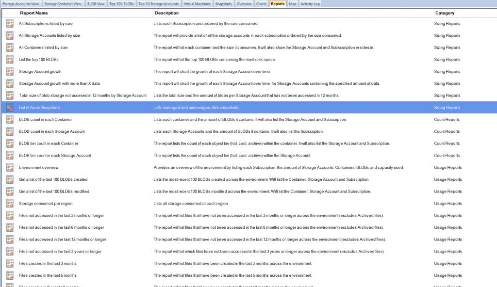 Azure VM Snapshot Storage