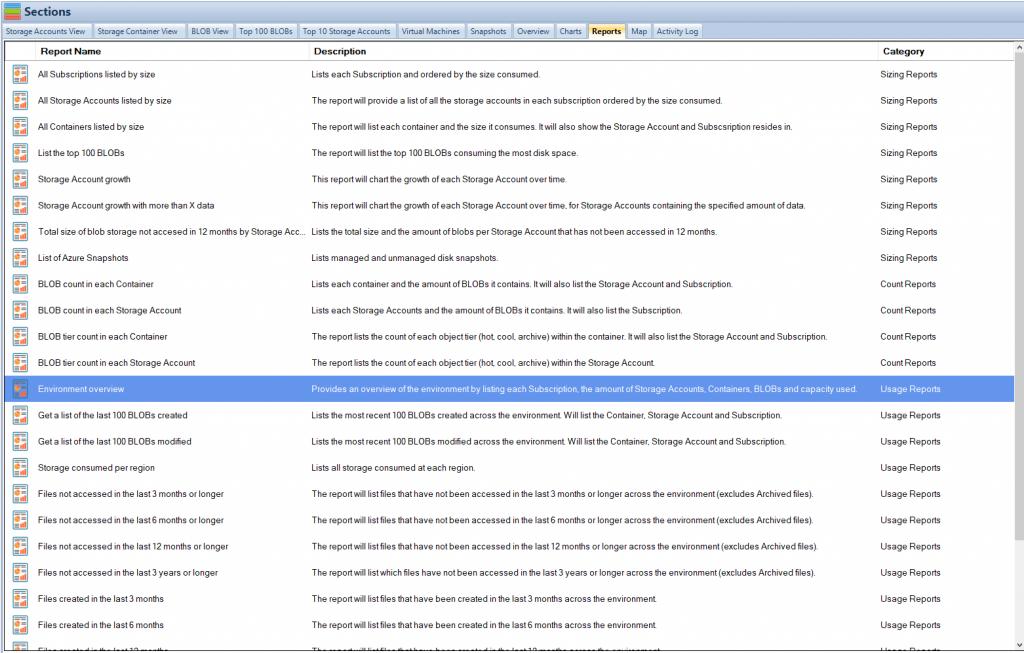 Azure Storage Reports