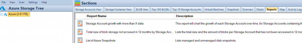 Azure Storage Reports Tab