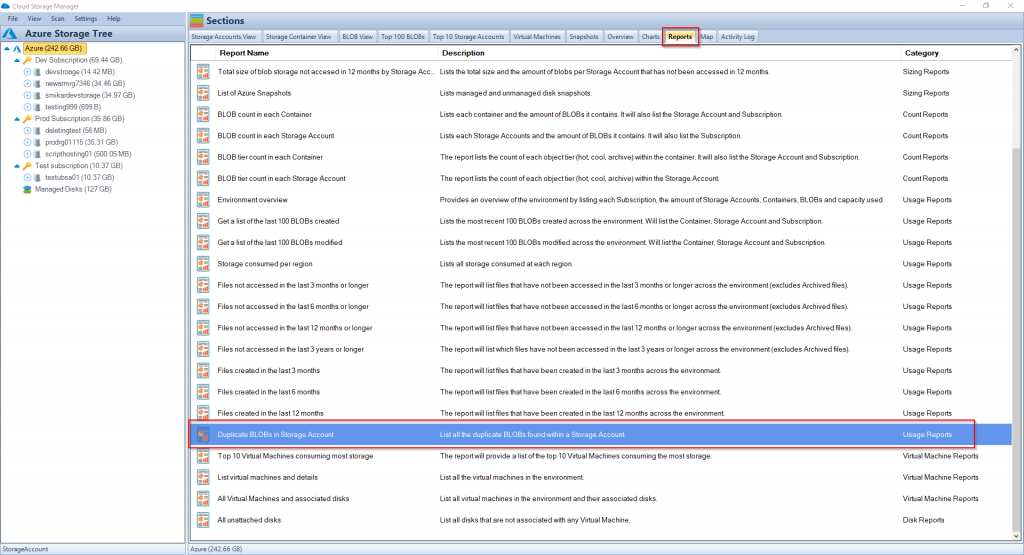 Azure Blob Duplicates Report