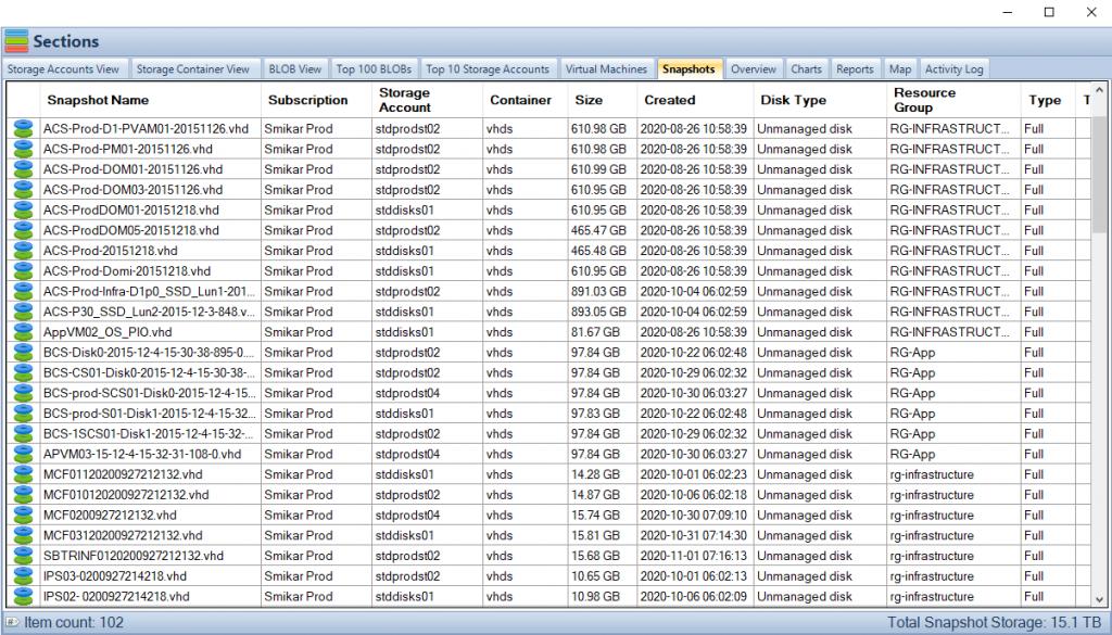 Azure VM Snapshot List