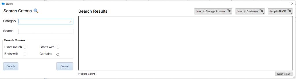 Azure Blob Search Window